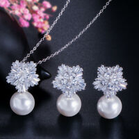 CWWZircons White Gold Cubic Zirconia Flower Pearl Necklace Earrings Jewelry Set