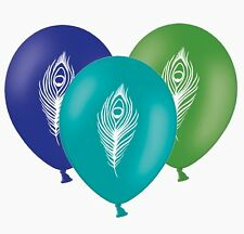 """Peacock Feather - 12"""" Printed Latex Balloons Asst  pack of 5  By Party Decor"""