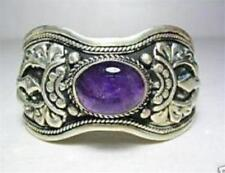 Exquisite Tibet Silver Purple Amethyst Gemstone Cuff Bangle Bracelet 7.5""