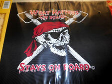 "Pirate Flag 12 x 18"" WHAT HAPPENS ON BOARD Two Sided Outdoor Grade Polyester NIP"