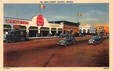Linen Postcard Main Street & Ben-Hur Cafe in Tijuana, Mexico~109510