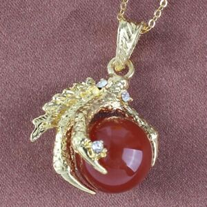 Dragon Claw Pendant Natural Healing Crystal Quartz Stone Round Beads Necklace