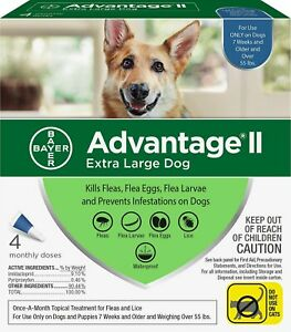 GENUINE BAYER ADVANTAGE II FLEA CONTROL FOR DOGS OVER 55 LBS - NEW 4 PACK