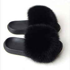 Solid Black Color Large Fur Sandals Furry Fluffy Black Fur Slippers Fur Slides
