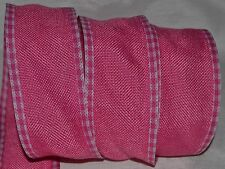 Wired Ribbon~Rustic Dark Hot Pink Burlap~Country Woven Check Edge~Primitive~Bow