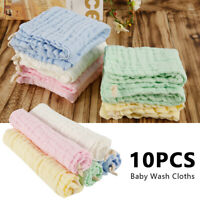 10Pcs Gauze Muslin Baby Kids Bibs Wash Face Towel Cloth Hand Saliva Bath Towel