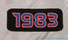 Embroidered Retro Vintage 80s Neon Hot Pink & Blue 1983 Year Patch Iron On USA