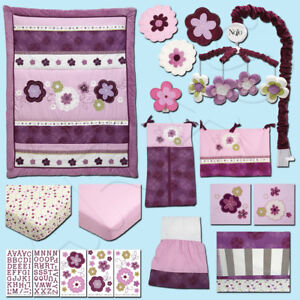 Pretty In Purple 15Pc (W/LINER & MOBILE) Crib Bedding Set by NoJo *DISCONTINUED*