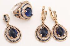 Turkish Jewelry Drop Sapphire Topaz 925 Sterling Silver Jewelry Set Ring Size 8