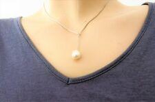 Halskette Y-Kette 45cm mit echter Süßwasserperle Tropfen Weiß 9-10mm Top Angebot