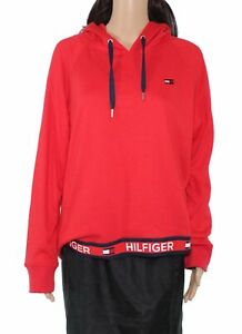 Tommy Hilfiger Womens Sweater Red Combo Size XXL Logo Elastic Hoodie $69- 253