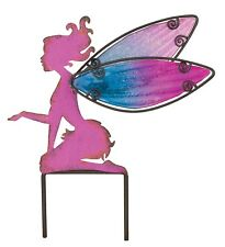 Pink Fairy Metal Glass Small Garden Stake Regal Gifts New distressed plant pot