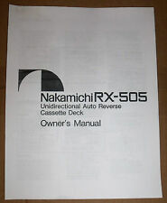 Nakamichi RX-505 Unidirectional Auto Reserve Cassette Deck Owner's Manual (Copy)