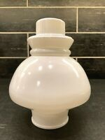 "Vtg White Glass Closed Top Lamp Shade Globe Approx 7 1/4"" Tall 2 7/8"" Fitter OD"