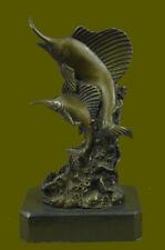 Hand Made Blue Marlin Statue Bronze Sculpture Trophy Big Animals Figure Gift