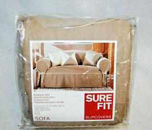 Sure Fit Cotton Duck/Linen Sofa Slipcover 1 Piece w/Corner Ties Khaki New  S9772