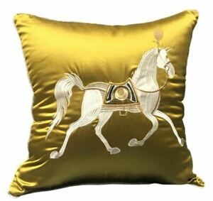 Embroidered  Chinese War Horse Cushion Cover Luxury Silky Embroidery Pillow Case