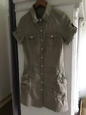 Hemdkleid Stretchkleid Sommerkleid Khaki Grün Sportlich Eingrifftaschen XS 34