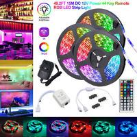 15M/10M RGB LED Strip Light 3528 SMD 44 Key Remote 12V DC Power Full Kit tape