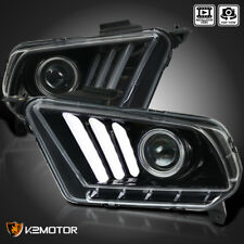 [Jet Black] 2010-2014 Ford Mustang Sequential LED DRL Bar Projector Headlights