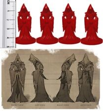 D&D RPG Fantasy Miniatures Unpainted Cultist Miniatures x 4 Red