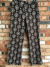 Harold's Size 6 Brown Floral Print Wider Leg Cotton Pant Stretch Trouser Women's