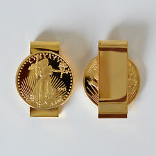 $20 Liberty Lady Coin Money Clip American Wallet Clips 24k Gold Plated - HDS