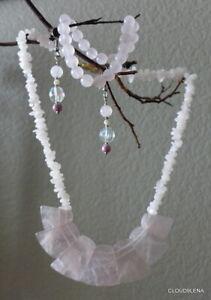 Vintage Estate Pink Quartz Necklace w/Silver Closure + Bracelet/earrings BONUS