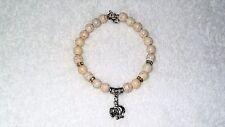White Turkey Turquoise Beads Elephant Zoo Safari Charm Bracelet Jewelry Energy