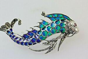 Koi Carp Fish Silver 925 Plique a jour Blue Green Purple Enamel Pendant Brooch