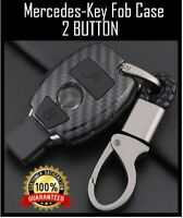 Mercedes Benz Car Key Fob 2 Button Remote Case BLACK CARBON AMG