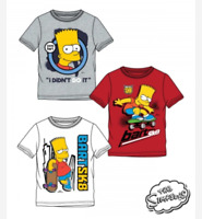 Boys Kids Children The Simpsons Bart Short Sleeve Tee T Shirt Top age 8-12 years