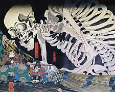 Japanese Kuniyoshi Painting Witch & Skeleton 8x10 Real Canvas Giclee Art Print