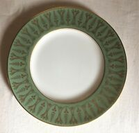 Royal Worcester dinner plate 1939.Moss green border Art Deco gold filigree.