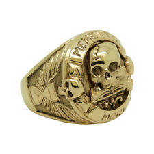 Masonic Solid Yellow Gold 14K Skull Biker men's ring Memento Mori size 11 US