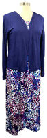 CAROLE HOCHMAN blue abstract floral sleeveless knit maxi w/cardigan wrap