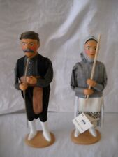 Set Of 2 Pottery Dolls Bases World Crafts Council in Crete Traditional Woman Man