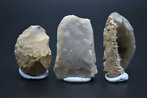 Group of 3 Neolithic flint scrapers C. 4500 - 2500 BC - British found