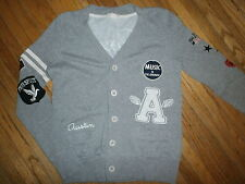 FOREVER 21 AUSTIN TEXAS SWEATER Cardigan Letterman Retro Embroidery Patch Music