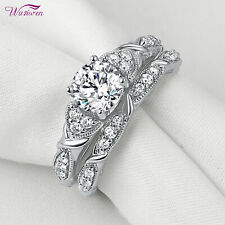 1.5ct Round Cut White Cz Size 8 Wedding Rings For Women Engagement Ring Band Set