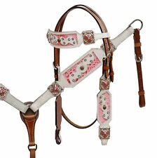 Showman White Hair Cowhide Headstall Breastcollar w Pink Alligator Print Inlay!