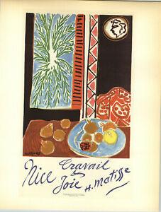 1959 Mini Poster Henri Matisse Lithograph Travail Et Joie ORIGINAL Print