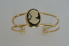 Cameo & Gold Torque Bangle, Bracelet in Black, Pink, Green Color