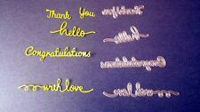 Metal Cutting Dies Cardmaking Congratulations Thank You Sentiment Set  DC1205