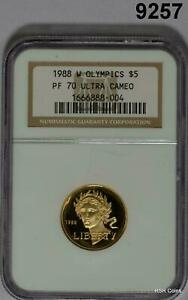 1988 W OLYMPIC $5 GOLD NGC CERTIFIED PF70 ULTRA CAMEO PERFECTION! #9257