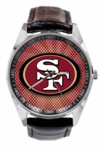 NFL San Francisco Men or Ladies Leather Band Watch Fashion Style Adjustable Size