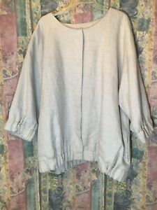 EILEEN FISHER 2X Jacket 96% Linen With Button Clasp And Cotton Lining  Silver