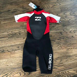 Billabong Youth Junior Intruder 2MM Back Zip Shorty Wetsuit Black Red White NWT!