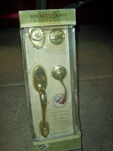 New Kwikset Society Brass Entrance Door Handle set Lock Set Solid Forged Brass