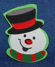 Smiling Jeweled Snowman, Foam Refrigerator Magnet, Made in the USA